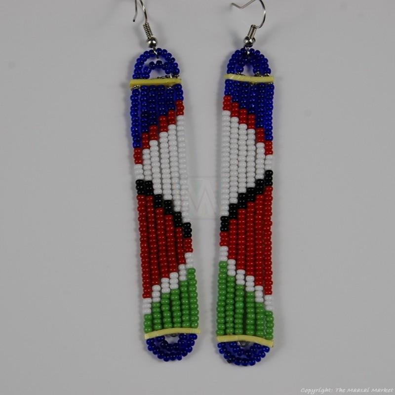 Maasai Glass Beads Multi Color Earrings 231-378