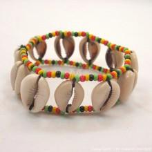 Maasai Cowrie Shells Elastic Bracelet (Rasta Color)