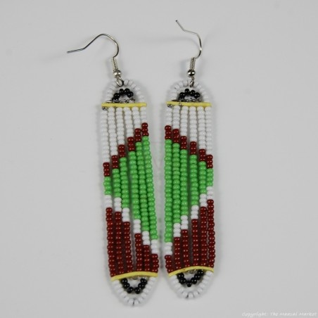 Maasai Glass Beads Multi Color Earrings 231-381