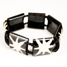Batik Star Burst Print Stretch Bone Bracelet 273-32