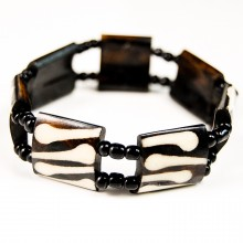 Mud Cloth Print Batik Bone Stretch Bracelet 387-37