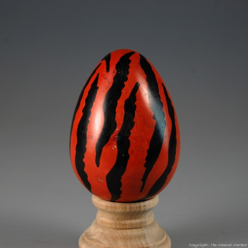 Orange Tiger Print Kisii Soapstone Easter Eggs