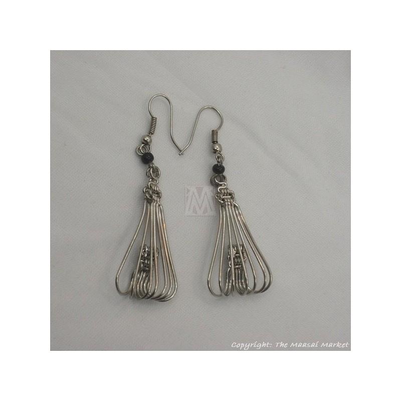 Silver Wire Maasai Bead Flower Petal Earrings