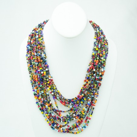 Multi Color Strand Maasai Bead Necklace 472-106