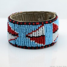 Maasai Bead Leather Bracelet Cuff 400-33