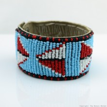 Maasai Bead Leather Bracelet Cuff 400-33