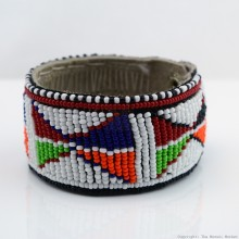 Maasai Bead Leather Bracelet Cuff 403-33
