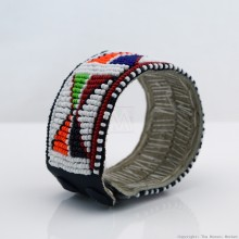 Maasai Bead Leather Bracelet Cuff 403-33