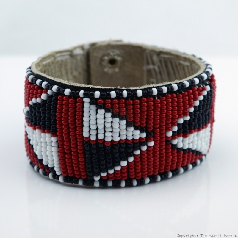 Maasai Bead Leather Bracelet Cuff 407 33