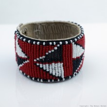 Maasai Bead Leather Bracelet Cuff 407-33