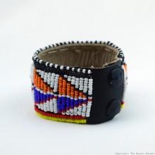 Maasai Bead Leather Bracelet Cuff 412-40