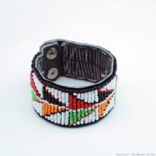 Maasai Bead Leather Bracelet Cuff 411-40
