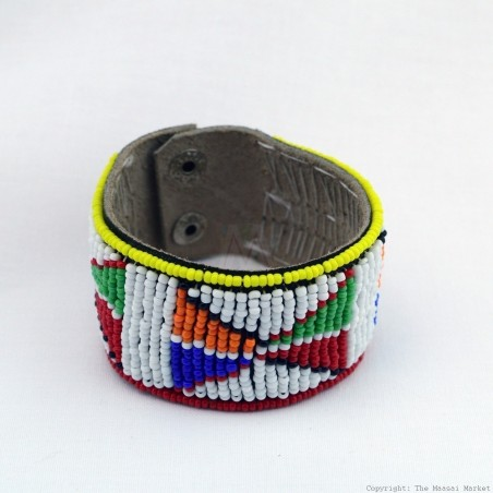 Maasai Bead Leather Bracelet Cuff 405-40