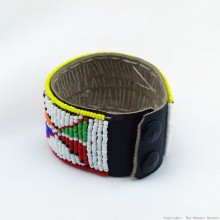Maasai Bead Leather Bracelet Cuff 405-40