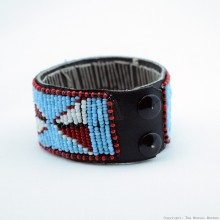Maasai Bead Leather Bracelet Cuff 408-40