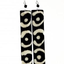 Long Batik Maasai Dangle Bone Earrings 538-44