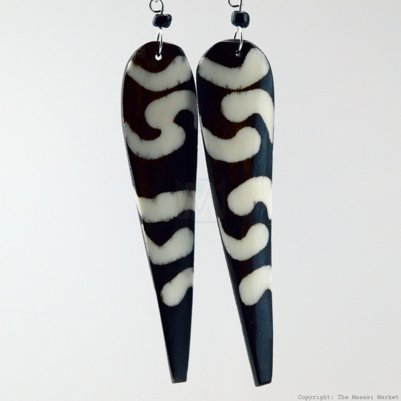 Long Mud Cloth Print Bone Earrings 568-97