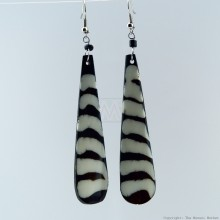 Black/White Stripe Batik Bone Earrings 421-97