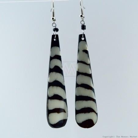 Black/White Stripe Batik Bone Earrings 421-97