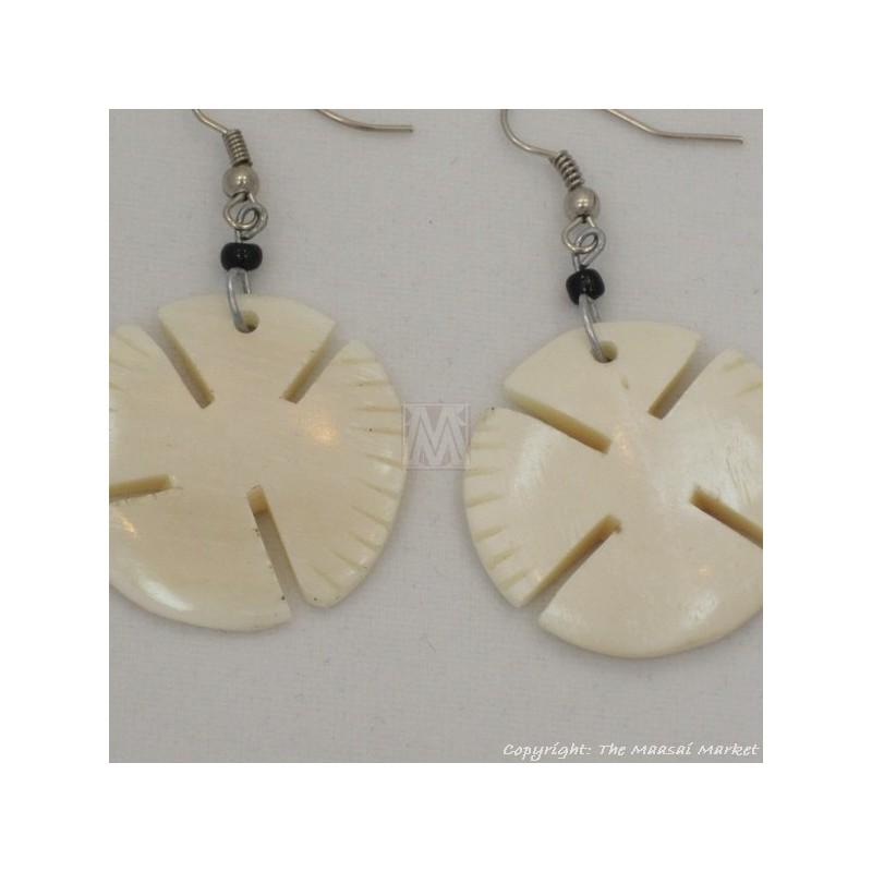 Cow Bone Dangle White Earrings