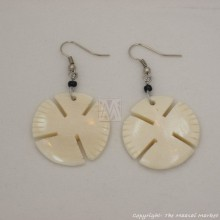 Cow Bone Dangle White Earrings