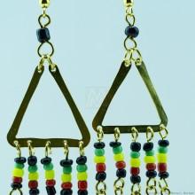 Brass Maasai Beads Rasta Earrings 150-98