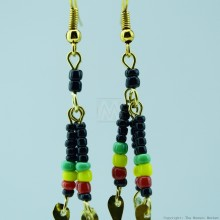 Brass Maasai Beads Rasta Earrings 154-29