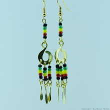 Brass Maasai Beads Rasta Earrings 168-26