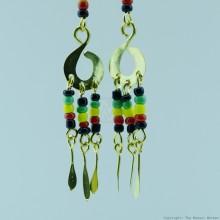 Brass Maasai Beads Rasta Earrings 168-26