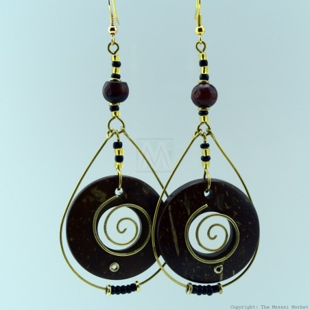 Copper and Wood Bead Earring 131-26