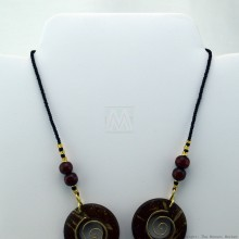 Copper Wire and Wood Bead Necklace Brown 125-27