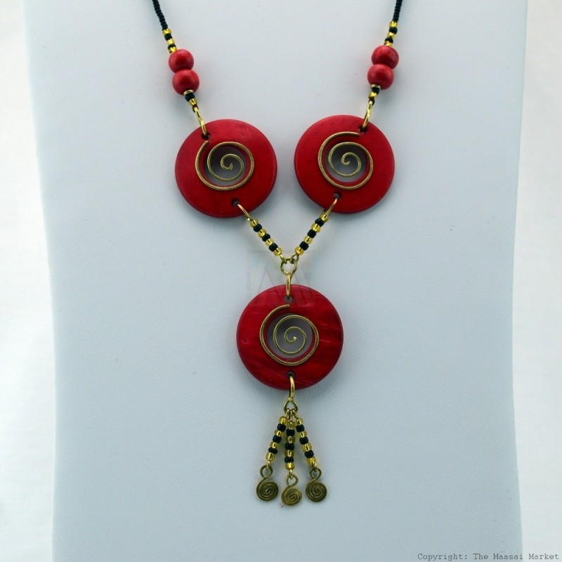 Copper Wire and Wood Bead Necklace Red 126-27