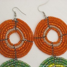 Large  Maasai Bead Earrings Orange/Green