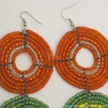 Large  Maasai Bead Earrings Orange/Green