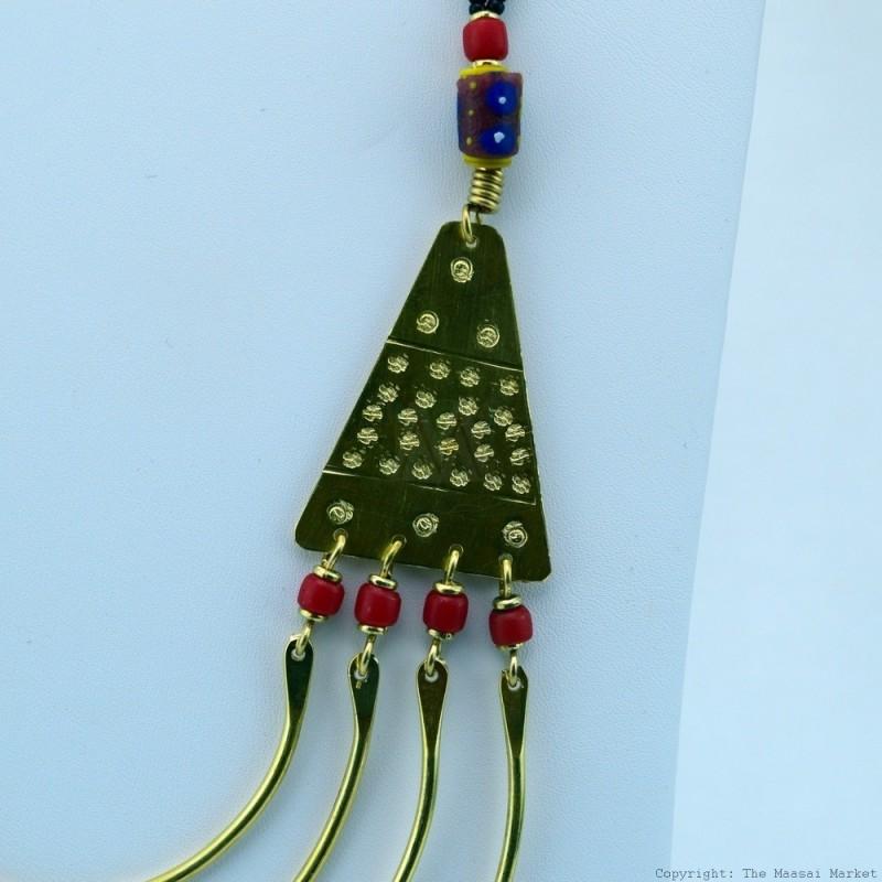 Maasai Trade Bead Brass Strand Necklace 119-90