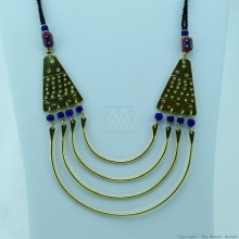 Maasai Trade Bead Brass Strand Necklace 115-19